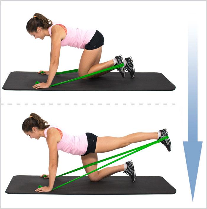 soulèvement des jambes arrière avec bandes élastiques pour les fesses